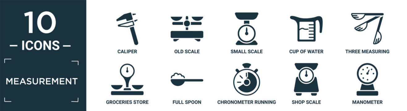 filled measurement icon set. contain flat caliper, old scale, small scale, cup of water, three measuring spoons, groceries store scale, full spoon, chronometer running, shop manometer icons in.