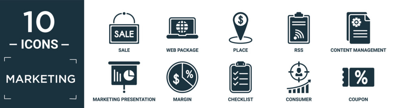 filled marketing icon set. contain flat sale, web package, place, rss, content management, marketing presentation, margin, checklist, consumer, coupon icons in editable format..