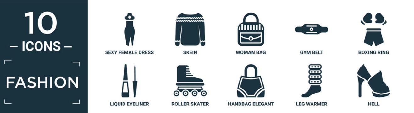 filled fashion icon set. contain flat sexy female dress, skein, woman bag, gym belt, boxing ring, liquid eyeliner, roller skater, handbag elegant de, leg warmer, hell icons in editable format..