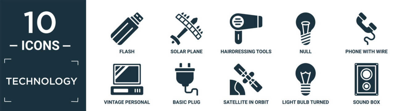 filled technology icon set. contain flat flash, solar plane, hairdressing tools, null, phone with wire, vintage personal computer, basic plug, satellite in orbit, light bulb turned off, sound box.