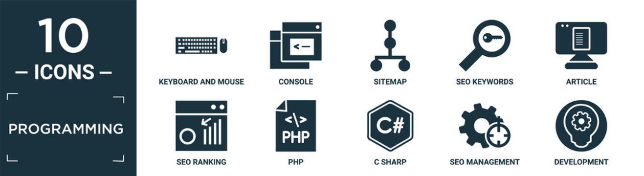filled programming icon set. contain flat keyboard and mouse, console, sitemap, seo keywords, article, seo ranking, php, c sharp, seo management, development icons in editable format..
