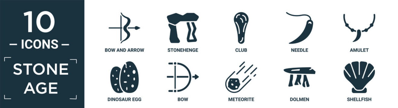 filled stone age icon set. contain flat bow and arrow, stonehenge, club, needle, amulet, dinosaur egg, bow, meteorite, dolmen, shellfish icons in editable format..