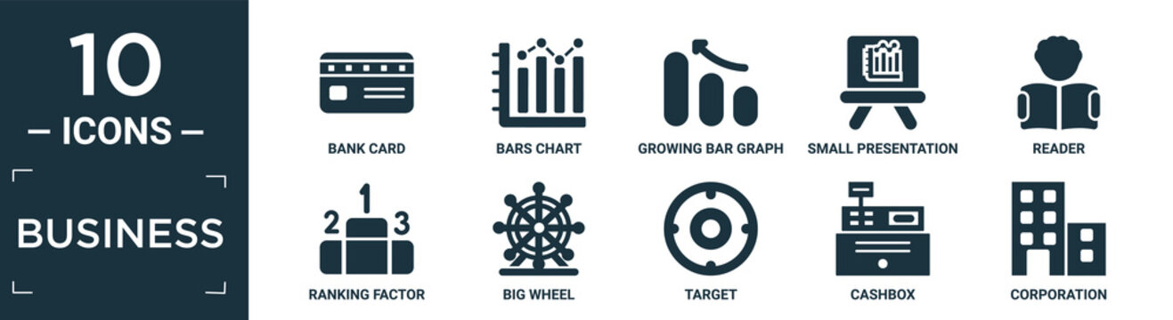 filled business icon set. contain flat bank card, bars chart, growing bar graph, small presentation board, reader, ranking factor, big wheel, target, cashbox, corporation icons in editable format..