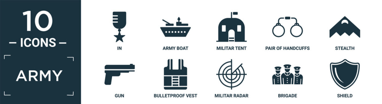 filled army icon set. contain flat in, army boat, militar tent, pair of handcuffs, stealth, gun, bulletproof vest, militar radar, brigade, shield icons in editable format..