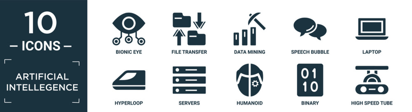 filled artificial intellegence icon set. contain flat bionic eye, file transfer, data mining, speech bubble, laptop, hyperloop, servers, humanoid, binary, high speed tube icons in editable format..
