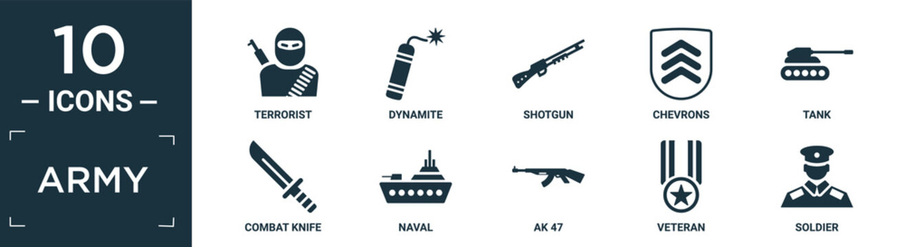 filled army icon set. contain flat terrorist, dynamite, shotgun, chevrons, tank, combat knife, naval, ak 47, veteran, soldier icons in editable format..