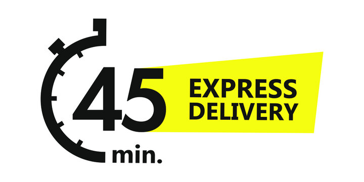 45 minutes express delivery. Vector illustration.
