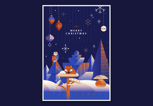 Art Deco Christmas Greeting Card Layout with Winter Forest