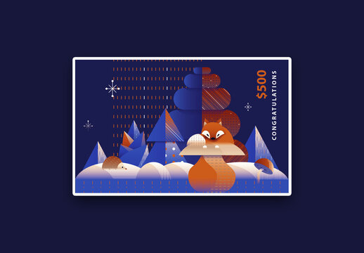 Art Deco Christmas Gift Card Layout with Red Fox