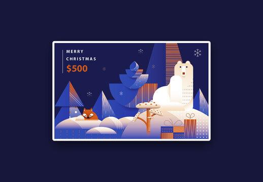 Art Deco Christmas Gift Card Layout with Polar Bear