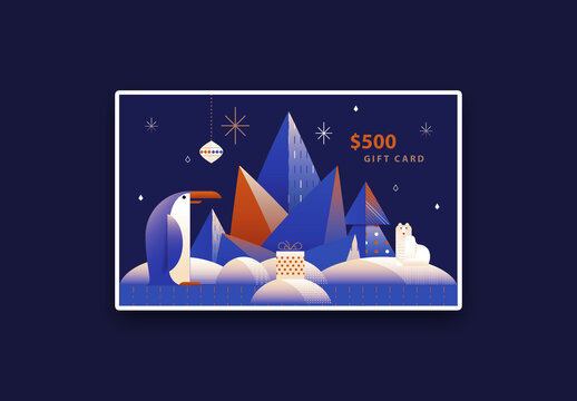 Art Deco Christmas Gift Card Layout with Penguin