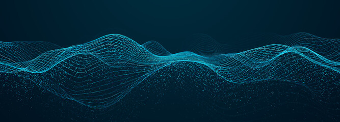 Abstract blue background of points. Falling cyber particles. Big data stream. 3d rendering
