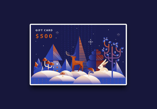 Christmas Gift Card Layout in Art Deco Style