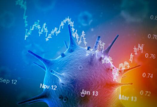 Effect of Coronavirus on stock market concept: Covid-19 pandemic hit the world's economy. Stock market crash in business world. 3d Rendering of coronavirus cells on stock market chart data.