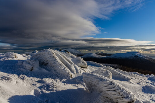 Winter snow scenes in The Mourne Mountains, Area of outstanding natural beauty, County Down, Northern Ireland