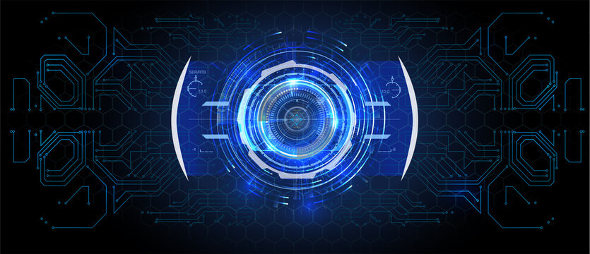 Future engineering concept with infographics  Circle portals, teleport, hologram gadget. Sky-fi digital hi-tech elements for presentation, vr, gui,