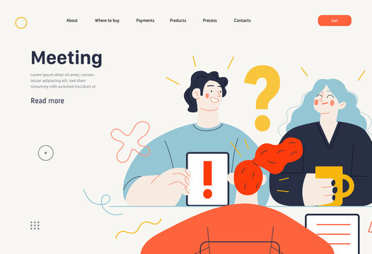 Business topics -meeting, web template, header. Flat style modern outlined vector concept illustration. People discussing a project. Tablet, question and exclamation marks, FAQ. Business metaphor