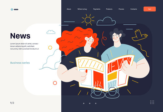 Business topics - news, web template, header. Flat style modern outlined vector concept illustration. A couple, man and woman reading a newspaper together. Business metaphor.