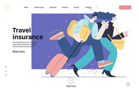 Travel insurance -medical insurance web page template -modern flat vector concept digital illustration - harrying young couple running with suitcases in the airport rush