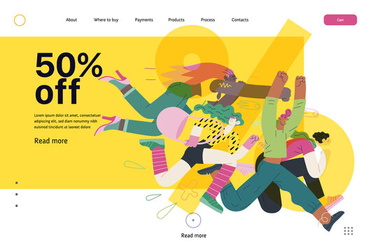 Discounts, sale, promotion, web template - modern flat vector concept illustration of people crowd running in the pursuit of the discounts, with a big percent sign on the background, 50 percents off