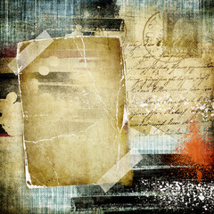 vintage background paper texture with handwritings and blank frame for photo or text