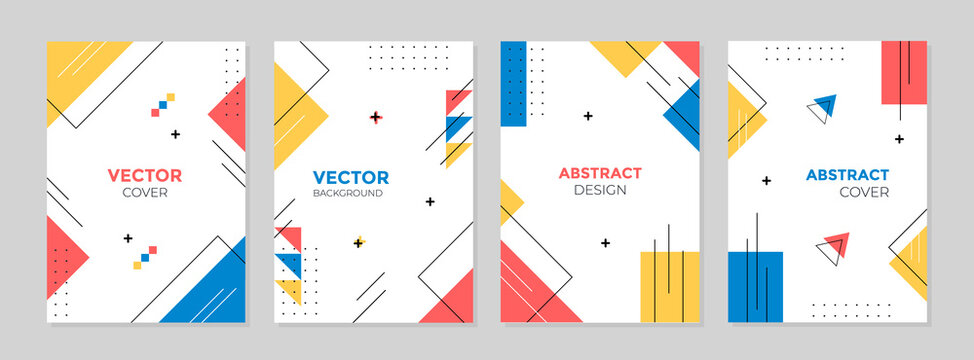 Vector set of abstract geometric cover background with minimal trendy style.