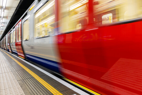 train in motion blur at the London Underground