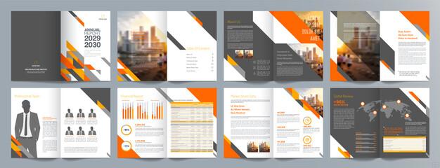 Fototapeta Corporate business presentation guide brochure template, Annual report, 16 page minimalist flat geometric business brochure design template, A4 size.