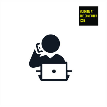 Working at the computer icon stock illustration. sales icon,  salesperson icon. The icon is depicted in a sales-related situation.