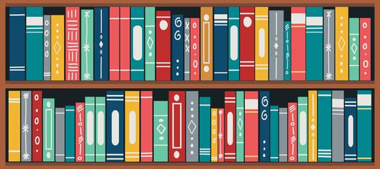 Fototapeta bookshelf with books. Set of different book spines on wooden shelves. Book banner. vector illustration. obraz