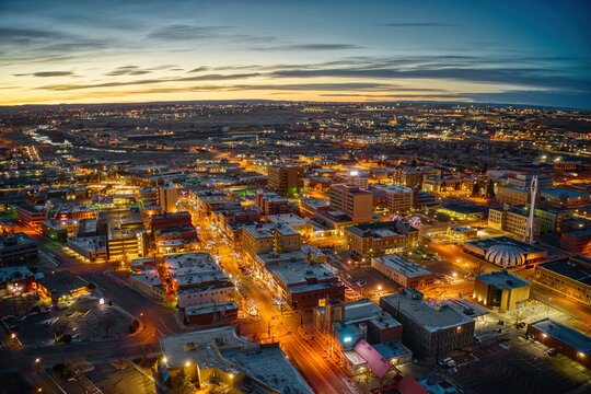 Aerial View of Downtown Casper, Wyoming at Dusk on Christmas Day