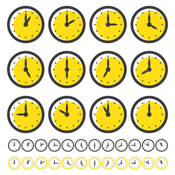 Set of Clocks Icons for Every Hour Isolated on White. Clocks with Yellow Circle.