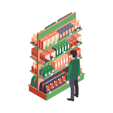 Isometric Supermarket Shelf Composition