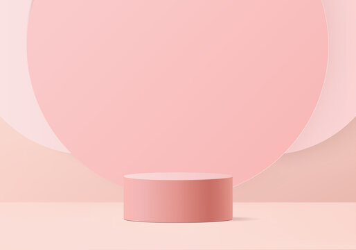 3d background products valentine podium in love platform. heart background vector 3d rendering with cylinder. podium stand to show cosmetic products. Stage romance showcase on pedestal pink studio