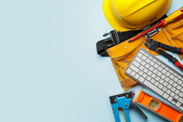 Obraz Construction tools and computer keyboard on color background - fototapety do salonu