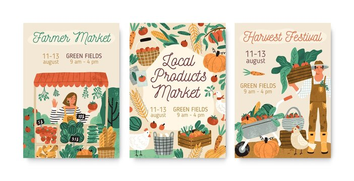 Collection of local products farmer market and harvest festival posters vector flat illustration. Set of announcement for seasonal agricultural fair isolated. Promo template with place for text