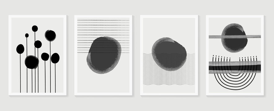 Abstract wall arts vector collection.  Black and white organic shape Art brush design for wall framed prints, canvas prints, poster, home decor, cover, wallpaper. Vector illustration