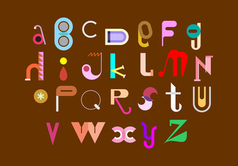 Abstract decorative font, vector design. Colored abstract font design isolated on a brown background. Alphabet letters formed by geometric shapes.