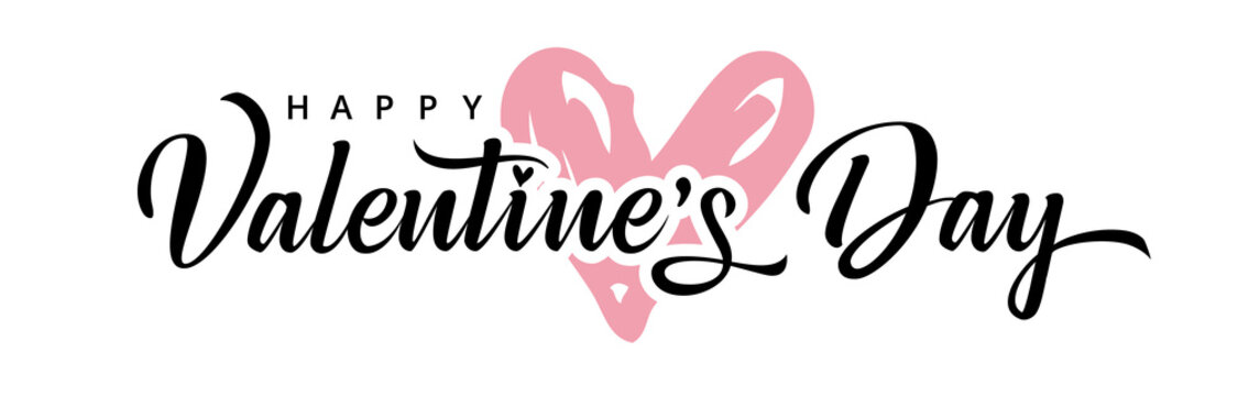 Valentine's day background with pink heart and typography of happy valentines day. Valentine holiday text design with rose color doodle heart for wallpaper, flyer, invitation, poster, banner, header