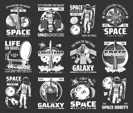 Outer space explore monochrome vector icons. Universe expedition galaxy adventure. Explorers and alien planet colonization mission. Astronaut, space shuttle and satellites cosmos research retro labels