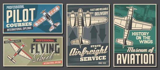Fototapeta Pilot courses and flying school banners. Air cargo or freight delivery service, aviation history museum exhibition retro posters. Old propeller monoplane, vintage aircraft top view vector