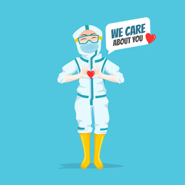 Expressive Nurse Character Illustration wearing ppe hazmat suit  showing love hand gesture saying we care about you for patient motivation