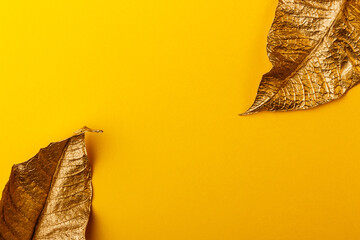Creative layout made of golden leaves with yellow paper card note. Golden leaves on yellow background.