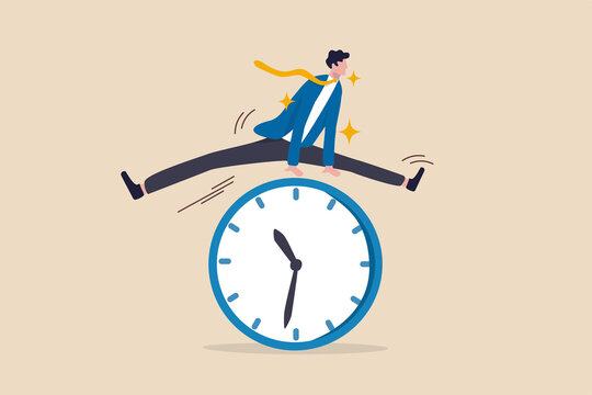 Smart time management, success in work strategy on business deadline or working time efficiency concept, smart happy and confidence businessman employee worker jump over time passing clock.