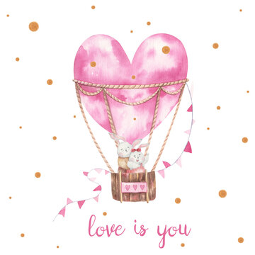 rabbits hugging in a balloon, valentine's day card, flowers