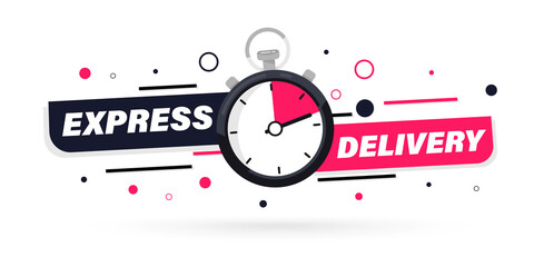 Fototapeta Express delivery with Stopwatch icon for apps and website. Fast delivery. Timer and express delivery inscription. Urgent shipping services.Delivery quick move. Fast distribution service 24/7 obraz