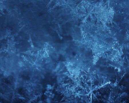 Macro photo of a snowflake close up. The concept of winter, cold, beauty of nature. Space for text.