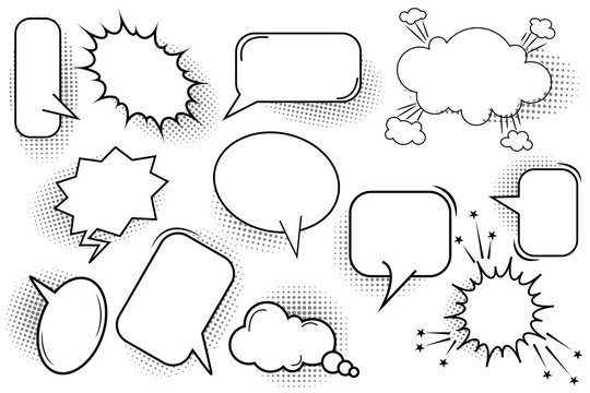 Hand drawn set bubble speech for banner design. Think bubble icon. Talk bubble. Stock image. EPS 10.