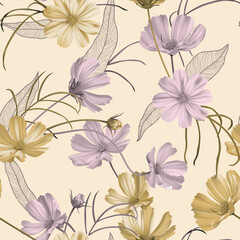 Floral seamless pattern, purple and yellow cosmos flowers with leaves on bright brown