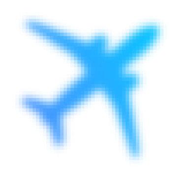 Light blue pixelated airplane icon.